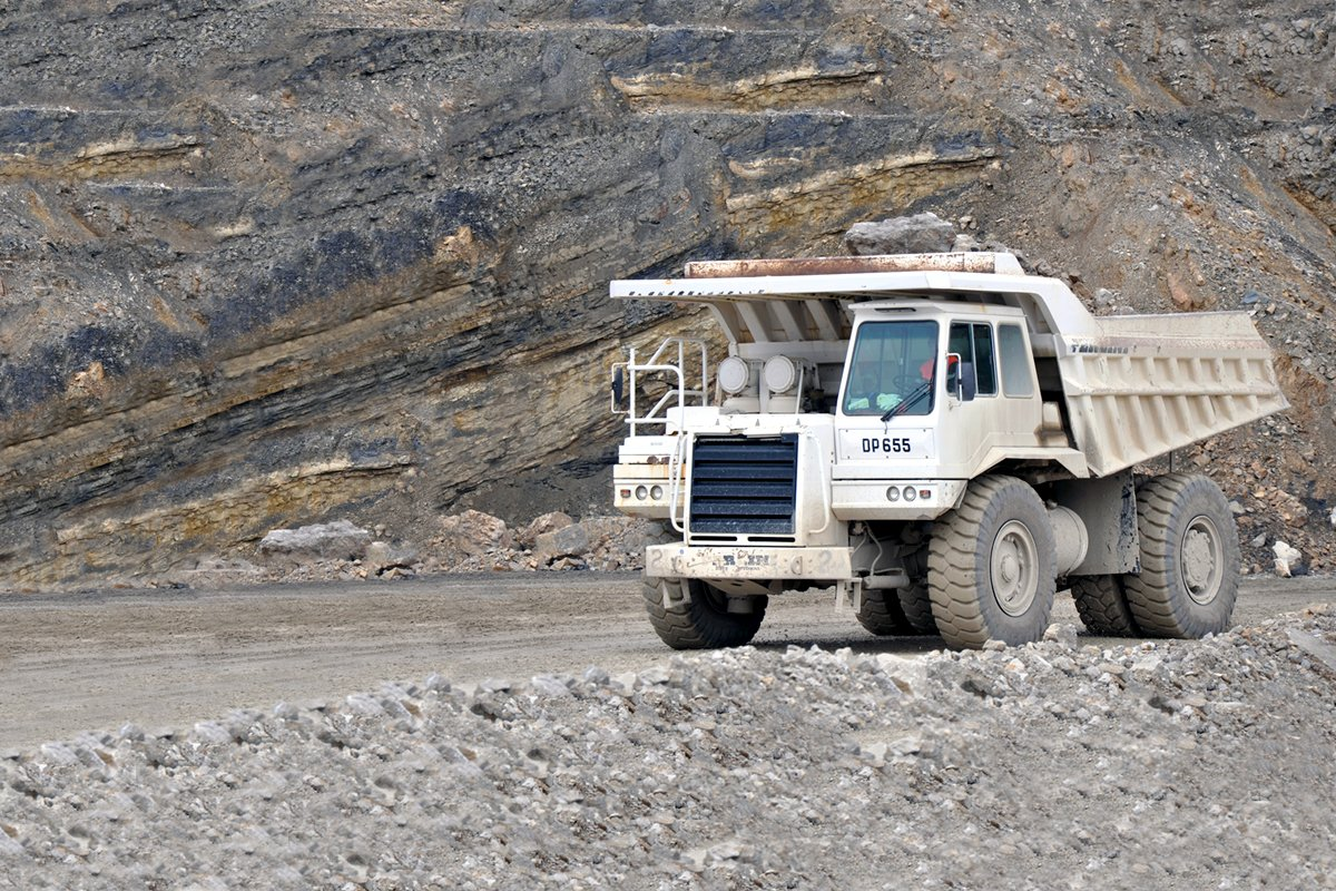 Truck equipped with an Allison transmission at a mining site.