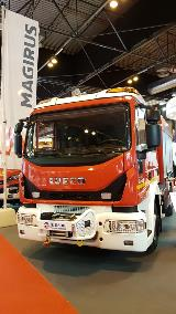 Magirus truck equipped with an Allison transmission at SICUR 2018 in Madrid, Spain.