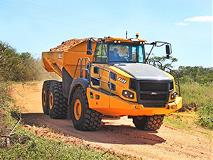 55-ton-capacity articulated Bell dump truck with an Allison 6630ORS hauling dirt.