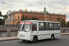 Transit bus parked in Petersburg, Russia.